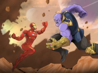 Irom Man V Thanos 2 RETRO COLOR